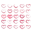 Grunge heart set Collection of hand drawing vector image