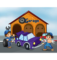 Two boys repairing the violet car vector image