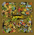 camping nature doodles designs vector image