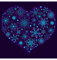 Christmas snow heart with glowing snowflakes vector image