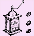 coffee grinder mill beans vector image