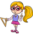 grade school girl cartoon vector image
