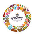 grocery store banner food drinks set icons vector image