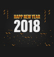 happy new year 2018 golden and white 3d text with vector image