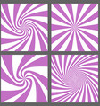 Retro spiral ray and starburst background set vector image