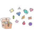 Treasure chest full of gold coins and gems vector image