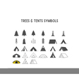 Trees and tent shapes and elements for creation vector image
