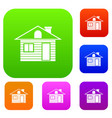 Wooden log house set collection vector image