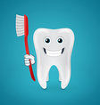 Happy tooth with red toothbrush vector image