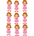 Little girl in various expression isolated vector image
