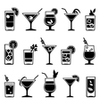 Cocktails and drinks black icons vector image