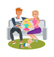 couple in park on bench relax play with children vector image