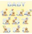 Cute baby birthday digits vector image