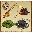Fishing rod bait deep-sea fish and vegetation vector image