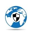 globe symbol protection icon design vector image