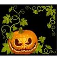 pumpkin jack vintage corner isolated on black vector image