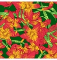 Seamless colorful pattern with lilies vector image