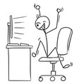 stick man cartoon of very happy man watching vector image
