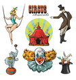 vintage hipster circus collection with carnival vector image