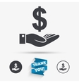 Dollar and hand sign Palm holds money USD vector image
