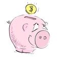 Money cartoon pig money box sketch icon vector image vector image