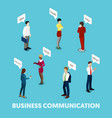 isometric business people communication concept vector image