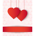 Two paper hearts card vector image vector image
