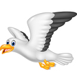 Cartoon flying seagull isolated vector image