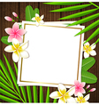 Decorative floral frame with tropical flowers vector image
