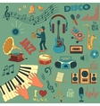 Colored hand draw music icon set vector image