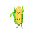cute funny corncob with yellow corns and green vector image