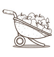 garden wheelbarrow with apples outline drawing vector image