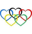 heart shaped olympic rings vector image