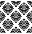 Seamless black damask floral background design vector image