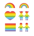 Gay pride rainbow heart and colors shapes vector image