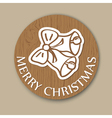 round wood christmas greening with bell vector image vector image