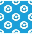 Recycle sign hexagon pattern vector image