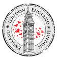 Grunge love heart stamp London Great Britain vector image