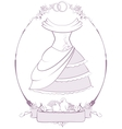 Bride wedding dress in frame vector image