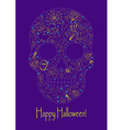 Merry Halloween skull with traditional symbols vector image