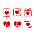set of donation icons with love concept vector image