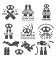 silhouette of scuba and divers labels for sea vector image