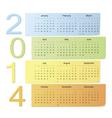 Color calendar 2014 vector image vector image