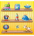 Toys arranged neatly in the wooden shelves vector image
