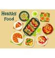 Tasty food for breakfast menu icon design vector image