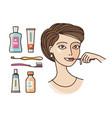 hygiene of oral cavity beautiful girl brushing vector image