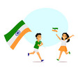 cartoon indian kids running with indian flags vector image