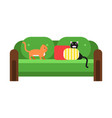 cute black and red cats sitting on a green sofa vector image