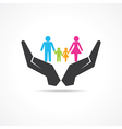 secure or save family under hand concept vector image