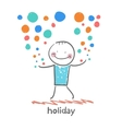 holiday with colorful fireworks vector image vector image